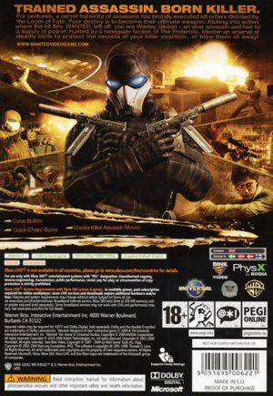Wanted Weapons of fate - Xbox 360 bak