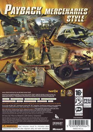 Mercenaries 2 World in Flames xbox 360 bak