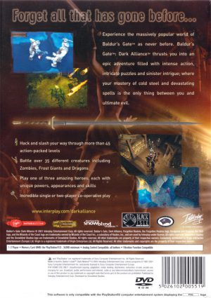 Baldur´s Gate Dark Alliance - Playstation 2 bak