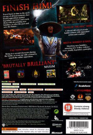 Mortal Kombat Xbox 360 bak