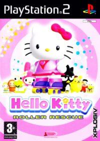 Framsidan till Playstation 2 spelet Hello Kitty: Rollers Rescue i Europeisk PAL utgåva